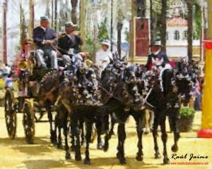 Carro tirado por caballos en la feria de jerez