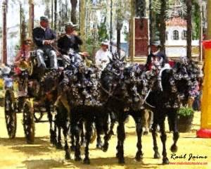 Carro tirado por caballos de la Feria de Jerez de la Frontera